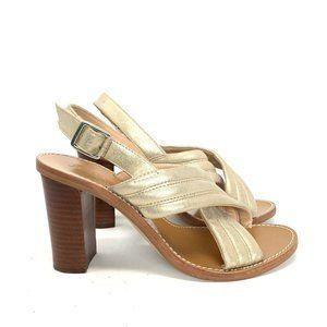 J. Crew Metallic Gold Marcie Sandals 8 Block Heels
